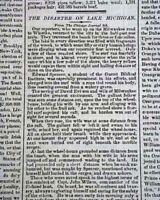 PS LADY ELGIN Sidewhell Steamship Lake Michigan DISASTER Sinking 1860 Newspaper