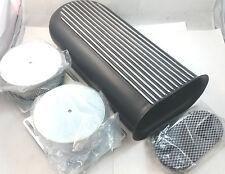 "Black Nostalgic Finned Hilborn Style Dual Carb Scoop 20"" L x 5"" H x 8-3/4"" W V8"