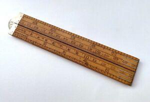 Antique J.Rabone & Sons Traveller Scale Folding Rule in Wood, England (#CM122)