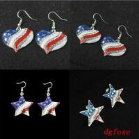 Women Earrings Jewelry Flag Crystal American Stud Patriotic Ear Shape Heart Star