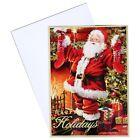 Box of 14 5X7 Christmas Cards w/ White Envelopes Santa Claus Happy Holidays