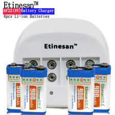 4 Etinesan 9V Li-ion 900mAh Rechargeable Toys Batteries + 9v charger direct deal