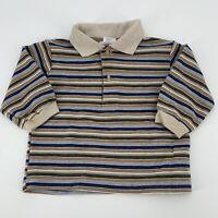 Vintage Baby Togs Infant Polo Shirt Striped Blue Tan Beige Sz 12 Months