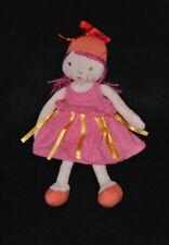 Peluche doudou poupée fille MARESE robe rose rubans jaunes 28 cm TTBE