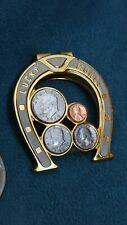 Gold Tone Money Clip Horseshoe Quarter silver dollar lucky vtg rare western cash