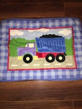 Olive Kids Dump Truck Standard Pillow Sham Blue Checks Velour Detail Embroidery
