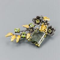 Handmade21ct+ Natural Green Amethyst 925 Sterling Silver Brooch /NB07419