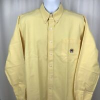 Cinch Mens Button Down Shirt Long Sleeve Yellow Size Large. A4