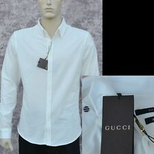 fa33a2227 GUCCI New sz 17 - 43 Authentic Designer Mens Spread Dress Shirt white web  button