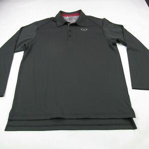 Adidas Shirt Mens Large Long Sleeve Gray Golf Polo Climalite Casual Lightweight