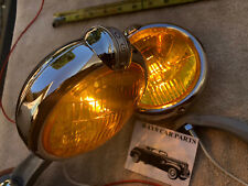 NEW 12 - VOLT AMBER SMALL VINTAGE STYLE FOG LIGHTS WITH FOG CAP AND GRAY BRACKS
