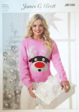 "James Brett Christmas DK Knitting pattern Ladies Jumper  32""- 42"" JB190"