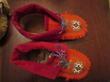 """Rare Blanket Topped Beaded Moccasins (VTG beaded red wool over hide Cree? ) 9.5"""""""