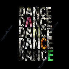 "Rhinestone Transfer "" Bright Neon Color Dance "" Hot Fix, Iron On, Bling , Cool"