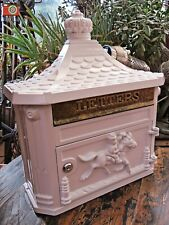 WHITE POST BOX, Wall Letter Box, Aluminium, Lovely Victorian Style. Lock & Key