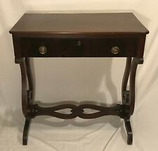 Antique Late Victorian Mahogany Side End Accent Sofa Console Table with Drawer