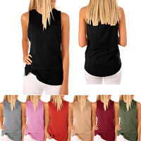 Women's Summer Sleeveless Tank Tops with Pockets Tees Blouse Workout T-Shirts