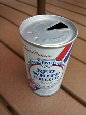 Classic Pabst Red White & Blue straight steel pull tab beer can top opened