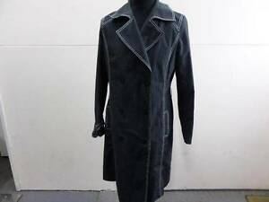 "Womens WALLIS TRENCH COAT Size 16 40"" BLACK Good/WORN SKU No W349"