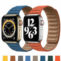 For Apple Watch Series SE 6/5/4/3/2/1 Magnetic Loop Leather iWatch Strap Band