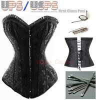 Sexy Lace up Overbust Steel Boned Floral Black Body Shapewear Corset Bustier ToP