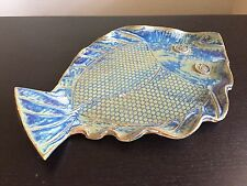 Fine Vintage Studio Pottery Art Plate Blue Scaly Fish Design SIGNED SHERRY NR