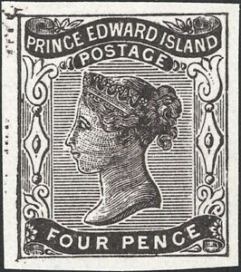 CANADA, P.E. ISLAND, 1868-70. QV 3d black Uni 9, Imperf Proof