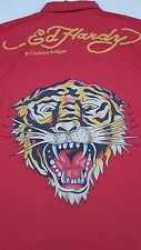 ED Hardy SHIRT Large RED Mens BUTTON Front BIG Tiger GRAPHIC Front + BACK Logo**