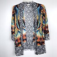 Chico's Cardigan Sweater Sz Small 4 0 Aztec Print WaterColor Striped Open Front