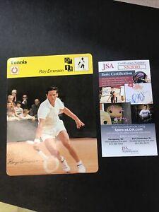 1977-79 Sportscaster #22-10 Tennis SIGNED, Roy Emerson JSA CERTIFIED AUTOGRAPH!
