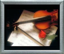 Violin & Music Sheet Red Rose Flower Wall Decor Silver Framed Picture (20x24)