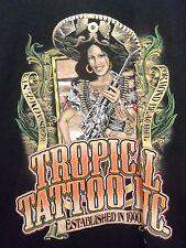Tropical tatoo ormond beach fl black graphic medium t shirt