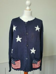 Vintage Star and Stripes Cardigan Hand Knitted in Bolivia Cotton size Large TO15