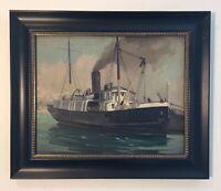 Martin Gambee Oil Painting Navy Ship Crocus Lighthouse Tender Nantucket Vineyard