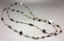 "AMAZING, 61.5"" LONG, PEARL, STONE, BEAD, STERLING SILVER HEART CLASP NECKLACE!"