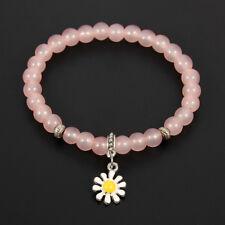 Bohemian Sunflower Charms Pendant Strand Bracelet Glass Beaded Elastic Bangle