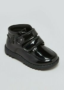 P Girls BNWT  Black Patent Butterfly Ankle Boots  size 8 10  Matalan  (RA)