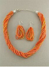 MULTI ORANGE GLASS SEED BEAD MULTI STRAND TWISTED NECKLACE EARRING SET