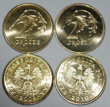 2009 and 2010 Poland 2 Grosze Brass Coins BU Very Nice