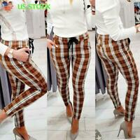 New Women Tartan Plaid High Waist Trousers Checked Slim Skinny Long Pencil Pants