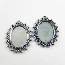 14pcs Vintage Silver Alloy Cameo Base 25x18mm Lace Oval Charms Pendants Findings