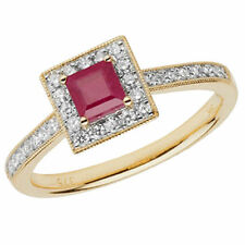 Unbranded Cluster Ruby Yellow Gold Fine Rings