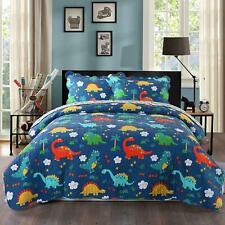 100% Cotton Kids Bedspread Quilts Set for Teens Boys Girls Bedding,Dinosaur Full