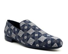 Jimmy Choo Loafers Sloane Blue Fabric Slip On Shoes Size 11.5 New