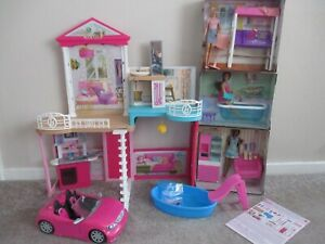 barbie house furniture dolls and car, New other.