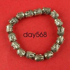 Chinese Tibet silver carved guanyin head talisman elastic bracelet