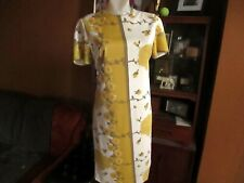 MEDIUM True Vtg 70s EV FASHIONS SUNFLOWER PRINT POLYESTER SACK HOUSE ZIP DRESS