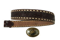 Tony Lama 18724 Men's Brown Leather Belt Cowboy Rodeo Buckle Size 38