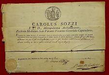 G5-MILANO, CERTIFICATO VESCOVILE DI CARLO SOZZI, SEDE VACANTE, 1815