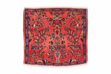 2x2 Oriental Vintage Red Floral Hand Knotted Tribal Wool Area Rug